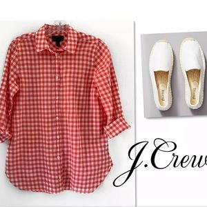 J. Crew Tops - J.CREW CRINKLE GINGHAM RED CHECK BUTTON DOWN TOP
